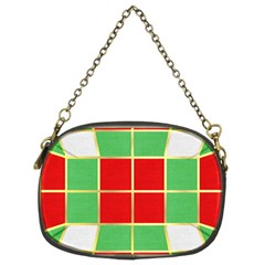 Christmas Fabric Textile Red Green Chain Purses (Two Sides)