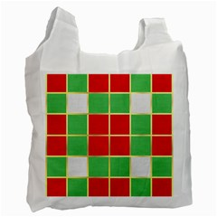 Christmas Fabric Textile Red Green Recycle Bag (One Side)