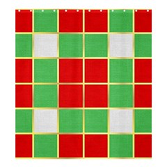 Christmas Fabric Textile Red Green Shower Curtain 66  x 72  (Large)