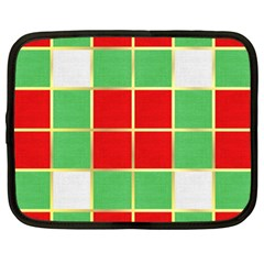 Christmas Fabric Textile Red Green Netbook Case (XXL)