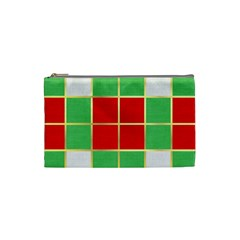 Christmas Fabric Textile Red Green Cosmetic Bag (small)