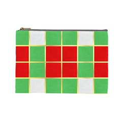 Christmas Fabric Textile Red Green Cosmetic Bag (Large)