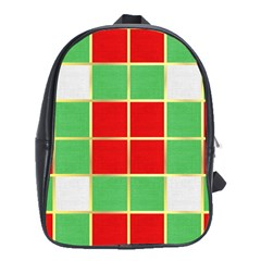 Christmas Fabric Textile Red Green School Bags(large)
