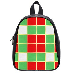 Christmas Fabric Textile Red Green School Bags (Small)