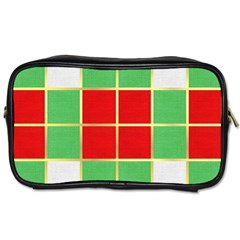 Christmas Fabric Textile Red Green Toiletries Bags 2-Side