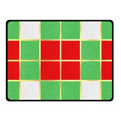 Christmas Fabric Textile Red Green Fleece Blanket (small)