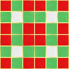 Christmas Fabric Textile Red Green Magic Photo Cubes