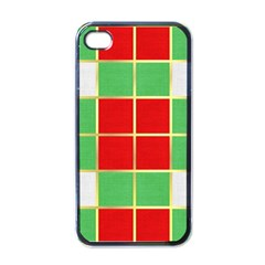 Christmas Fabric Textile Red Green Apple iPhone 4 Case (Black)