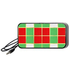 Christmas Fabric Textile Red Green Portable Speaker (black)
