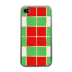 Christmas Fabric Textile Red Green Apple iPhone 4 Case (Clear)