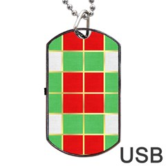 Christmas Fabric Textile Red Green Dog Tag USB Flash (One Side)