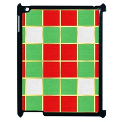 Christmas Fabric Textile Red Green Apple iPad 2 Case (Black)
