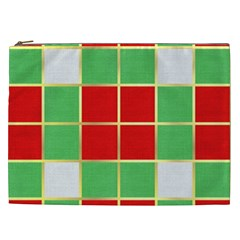 Christmas Fabric Textile Red Green Cosmetic Bag (XXL)