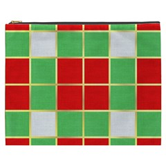 Christmas Fabric Textile Red Green Cosmetic Bag (XXXL)