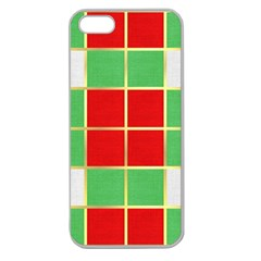 Christmas Fabric Textile Red Green Apple Seamless iPhone 5 Case (Clear)