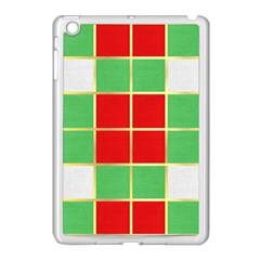Christmas Fabric Textile Red Green Apple iPad Mini Case (White)