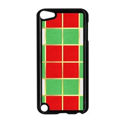 Christmas Fabric Textile Red Green Apple Ipod Touch 5 Case (black)