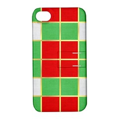 Christmas Fabric Textile Red Green Apple Iphone 4/4s Hardshell Case With Stand