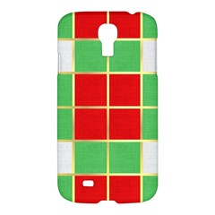 Christmas Fabric Textile Red Green Samsung Galaxy S4 I9500/I9505 Hardshell Case