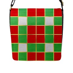 Christmas Fabric Textile Red Green Flap Messenger Bag (L)
