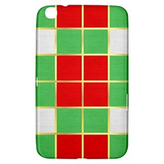 Christmas Fabric Textile Red Green Samsung Galaxy Tab 3 (8 ) T3100 Hardshell Case