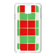 Christmas Fabric Textile Red Green Samsung Galaxy Note 3 N9005 Case (white)