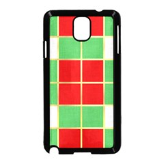 Christmas Fabric Textile Red Green Samsung Galaxy Note 3 Neo Hardshell Case (black)