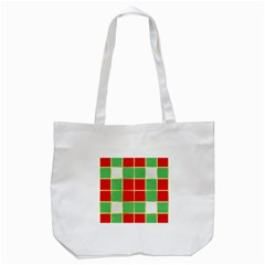 Christmas Fabric Textile Red Green Tote Bag (White)