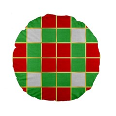 Christmas Fabric Textile Red Green Standard 15  Premium Flano Round Cushions