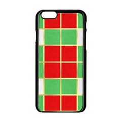 Christmas Fabric Textile Red Green Apple iPhone 6/6S Black Enamel Case
