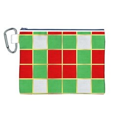 Christmas Fabric Textile Red Green Canvas Cosmetic Bag (L)