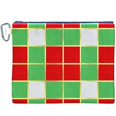Christmas Fabric Textile Red Green Canvas Cosmetic Bag (XXXL)