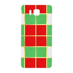 Christmas Fabric Textile Red Green Samsung Galaxy Alpha Hardshell Back Case