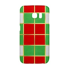 Christmas Fabric Textile Red Green Galaxy S6 Edge