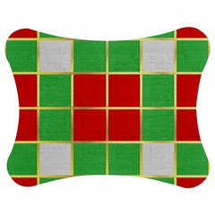 Christmas Fabric Textile Red Green Jigsaw Puzzle Photo Stand (Bow)