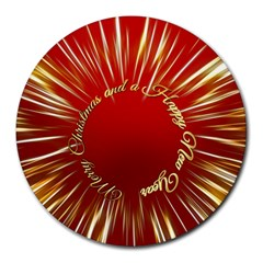 Christmas Greeting Card Star Round Mousepads