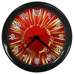 Christmas Greeting Card Star Wall Clocks (Black)