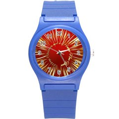 Christmas Greeting Card Star Round Plastic Sport Watch (S)