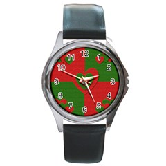 Christmas Fabric Hearts Love Red Round Metal Watch