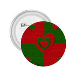 Christmas Fabric Hearts Love Red 2 25  Buttons