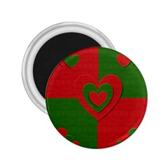 Christmas Fabric Hearts Love Red 2 25  Magnets