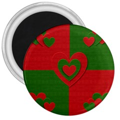 Christmas Fabric Hearts Love Red 3  Magnets