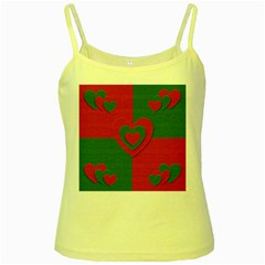 Christmas Fabric Hearts Love Red Yellow Spaghetti Tank