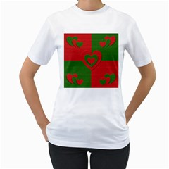 Christmas Fabric Hearts Love Red Women s T-Shirt (White) (Two Sided)