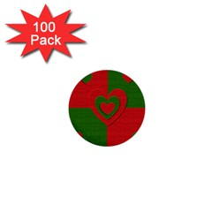 Christmas Fabric Hearts Love Red 1  Mini Buttons (100 Pack)