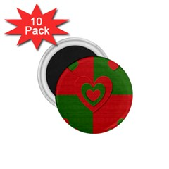 Christmas Fabric Hearts Love Red 1.75  Magnets (10 pack)