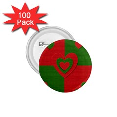 Christmas Fabric Hearts Love Red 1.75  Buttons (100 pack)