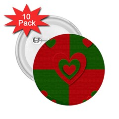 Christmas Fabric Hearts Love Red 2.25  Buttons (10 pack)