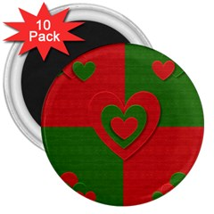 Christmas Fabric Hearts Love Red 3  Magnets (10 pack)