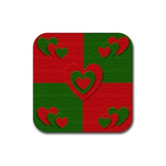 Christmas Fabric Hearts Love Red Rubber Square Coaster (4 pack)